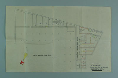 Architect's drawing of proposed Melbourne Glaciarium, c1955; Documents and books; 1995.3108.314.1