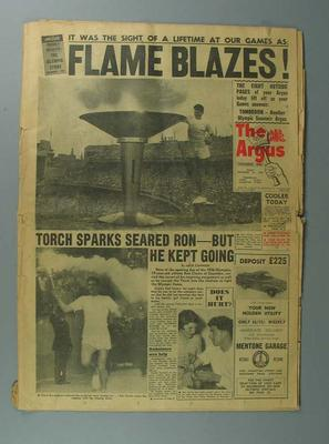 1956 Melbourne  Olympics, front page of The Argus newspaper showing  lighting of Olympic Flame, 23 November 1956; Documents and books; 1986.260