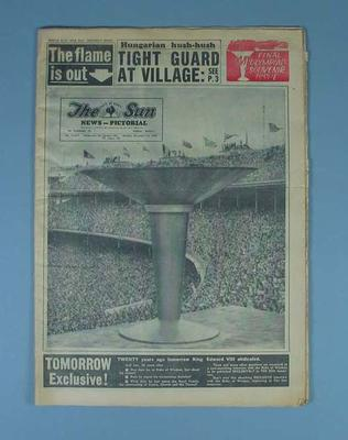 1956 Melbourne Olympics, front page of the The Sun News Pictorial, souvenir issue, 'The Flame is Out', 10 December 1956