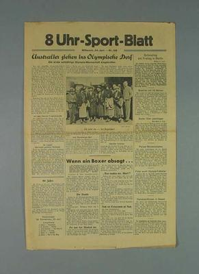 German newspaper reporting on Australian Olympic team, dated 24 June 1936; Documents and books; 1986.1008.1
