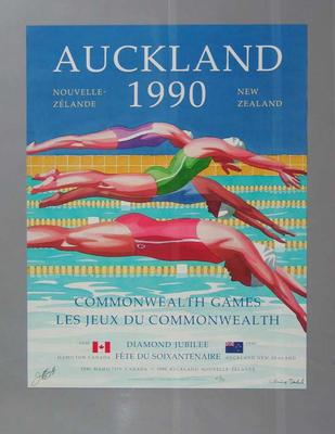 Poster - Commonwealth Games Auckland 1990 -  Edition No. 41/50, signed by Jeff Burgess & Chris Dahl
