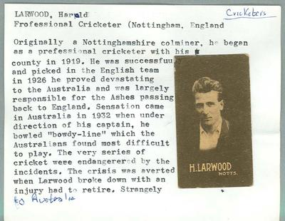 Trade card featuring Harold Larwood, BDV Cigarettes c1930s; Documents and books; 1987.1801.34