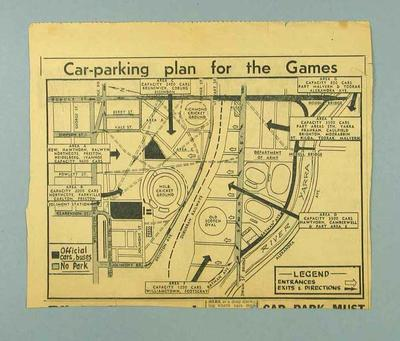 Newspaper clipping, car parking plan of Melbourne for 1956 Olympic Games; Documents and books; 1992.2669.55