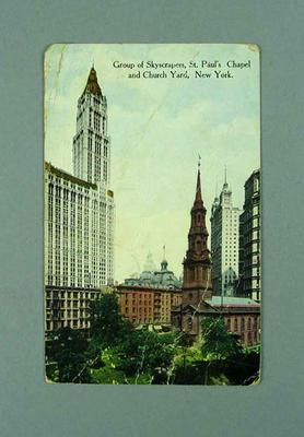 Postcard from New York written by Les Darcy to Maurice O'Sullivan 9/3/1917