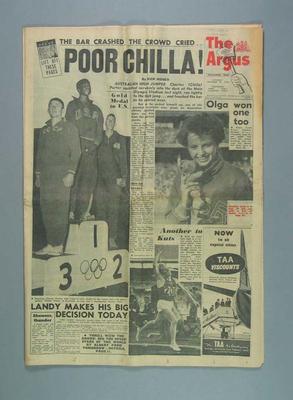 """Newspaper, """"The Argus"""" 24 Nov 1956"""