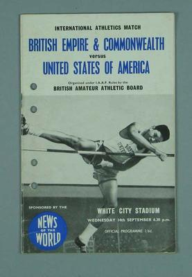 Programme for International Athletics match, 14 Sept 1960