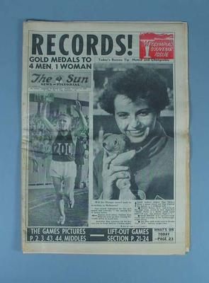 """Newspaper, """"The Sun News-Pictorial"""" 24 Nov 1956; Documents and books; 1991.2487.1"""