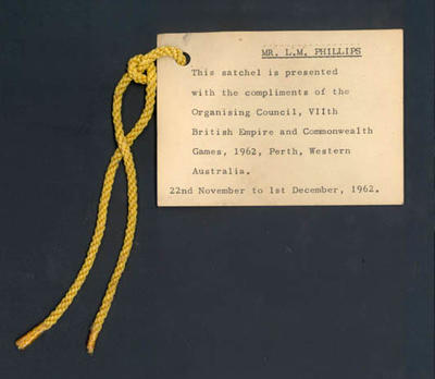 Typewritten card with gold cord - VII British Empire & Commonwealth Games, Perth 1962 - addressed to Les Phillips