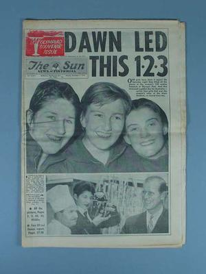 """Newspaper, """"The Sun News-Pictorial"""" 3 Dec 1956; Documents and books; 1991.2487.4"""