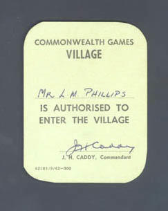 Admission card to the Commonwealth Games Village issued to L.M. Phillips