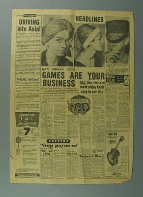 """Newspaper article """"Games Are Your Business"""" by Ken Moses, The Argus, 11/9/56"""