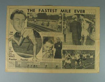 """Newspaper clipping, """"The Fastest Mile Ever...."""" The Sun 8 Aug 1958; Documents and books; 1994.3011.33"""