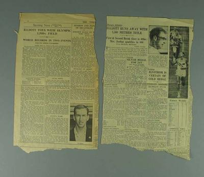 Newspaper clippings regarding Herb Elliott, 1960 Olympic Games; Documents and books; 1994.3011.37