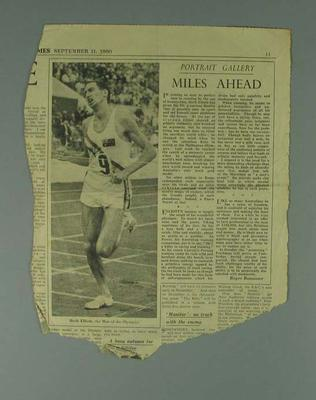 """Newspaper clipping, """"Miles Ahead"""" The Sunday Times 11 Sept 1960; Documents and books; 1994.3011.38"""