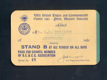 Admission ticket, No. 48  for Mr. L.M. Phillips - VII British Empire & Commonwealth Games 1962 Perth