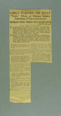 """Newspaper clipping, """"Girls Flirted on Boat"""" 1 Jan 1929; Documents and books; 1995.3117.11"""