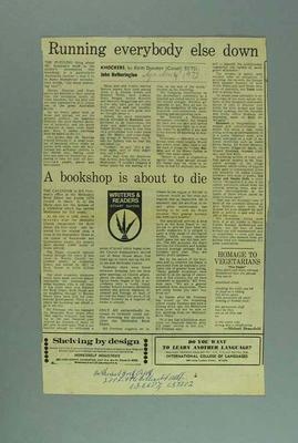 """Newspaper clipping, """"Running Everybody Else Down"""" 4 Nov 1972; Documents and books; 1995.3117.14"""