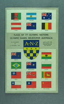 1956 Melbourne Olympic Games pamphlet featuring Flags of 77 Olympic Nations, issued by ANZ bank