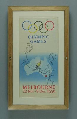1956 Olympic Games official programme with map and drawings of venues; Documents and books; Framed; 1986.1039.2