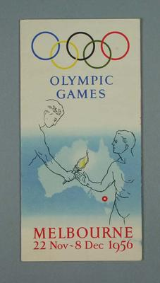 Programme of events and map, 1956 Olympic Games; Documents and books; 1987.1821.29