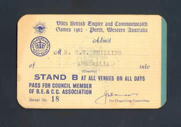 Admission Ticket, No. 18, for Mr. L.B.[sic] Phillips - VII British Empire & Commonwealth Games 1962, Perth