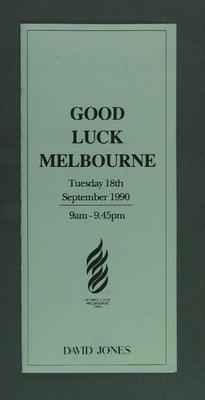 Pamphlet advertising David Jones broadcasting 1996 Olympic Bid decision, Sept 1990