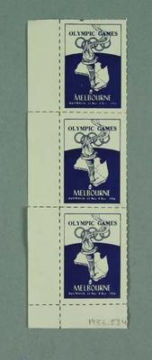 Block of three 1956 Olympic Games stamps