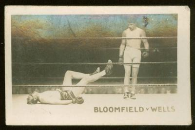 1923 The Rocket Periodical Famous Knock-Outs Bloomfield vs Wells trade card
