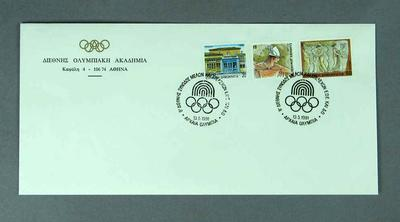 First day cover from the International Olympic Academy, 13 May 1991