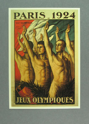 Poster for 1924 Olympic Games, reproduced as a coloured postcard by the I.O.C. in 1983 and contained in a Card Wallet