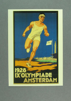 1928 Amsterdam Olympic Games poster, reproduced as a coloured postcard by the I.O.C. in 1983 and contained in Card Wallet; Documents and books; 1986.14.9