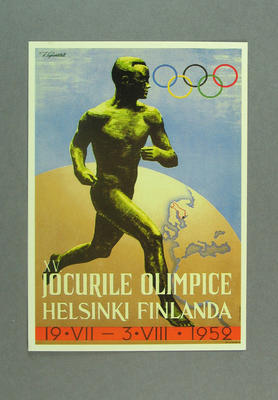 1952 Helsinki Olympic Games poster, reproduced as a postcard by the I.O.C. in 1984 and contained in Card Wallet