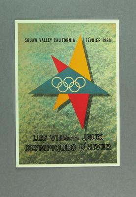 1960 Winter Olympic Games poster, reproduced as a coloured postcard by the I.O.C. in 1984 and contained in Card Wallet