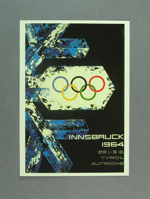 1964 Winter Olympic Games poster, reproduced as a coloured postcard by the I.O.C. in 1985 and contained in Card Wallet