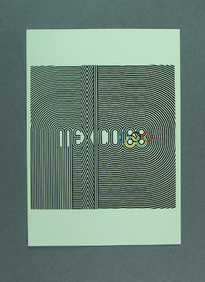1968 Mexico Olympic Games poster, reproduced as a coloured postcard by the I.O.C. in 1985, and contained in Card Wallet