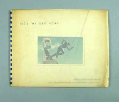 Book - Application for venue, VIII British Empire & Commonwealth Games 1966 - City of Kingston, Jamaica