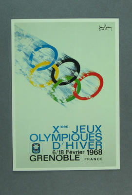 1986 Winter Olympic Games poster, reproduced as a coloured postcard by the I.O.C. in 1985 and contained in Card Wallet