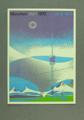 1972 Munich Olympic Games poster, reproduced as a coloured postcard by the I.O.C. in 1985 and contained in Card Wallet.