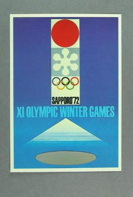 1972 Winter Olympic Games poster, reproduced as a coloured postcard by the I.O.C. in 1985, and contained in Card Wallet