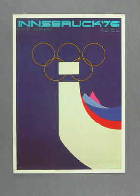 1976 Winter Olympic Games poster reproduced as a coloured postcard by the I.O.C. in 1985, and contained in Card Wallet