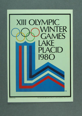 1980 Winter Olympic Games poster, reproduced as a coloured postcard by the I.O.C. in 1985 and contained in Card Wallet