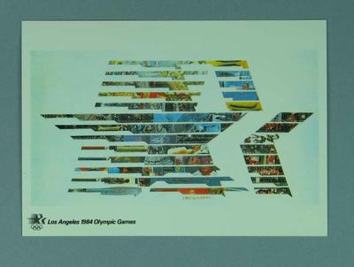 1984 Los Angeles Olympic Games poster, reproduced as a coloured postcard by the I.O.C. in 1985, and contained in Card Wallet; Documents and books; 1986.14.34