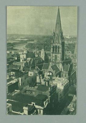 Postcard featuring St Paul's Cathedral and Swanston Street, printed for 1956 Olympic Games