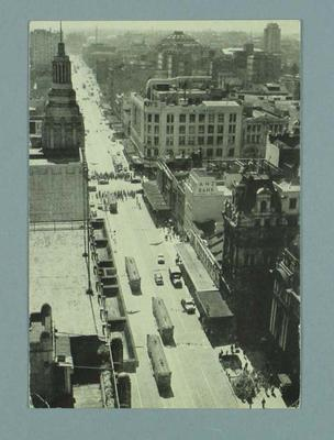 Postcard featuring Swanston Street, printed for 1956 Olympic Games