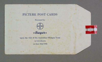 Envelope which contained picture postcards, presented to commemorate visit of Australian Olympic team to Leverkusen, 22 June 1936; Documents and books; 1986.1013.1