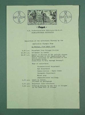 Schedule for the Australian Olympic team's inspection of the Bayer Pharmaceuticals factory, 22 June 1936