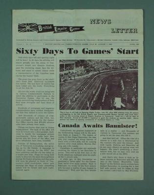 "Newsletter, ""British Empire & Commonwealth Games"" June 1954"
