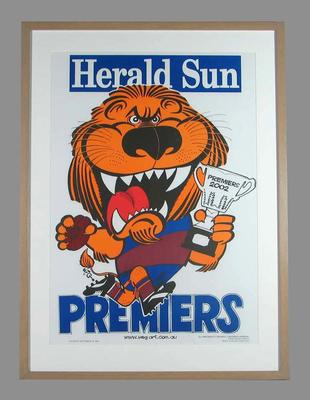 Poster -  Brisbane Lions Premiers 2002 Grand Final, cartoonist WEG