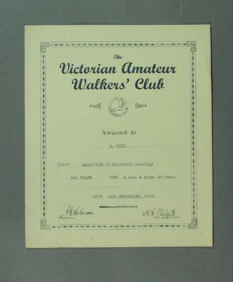 Certificate - 3rd Place, Vic Amateur Walkers' Club Melbourne to Frankston Handicap 1947; Documents and books; 1994.3095.72