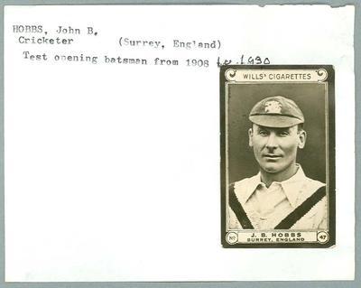 Trade card featuring John Hobbs, Wills Cigarettes c1930s